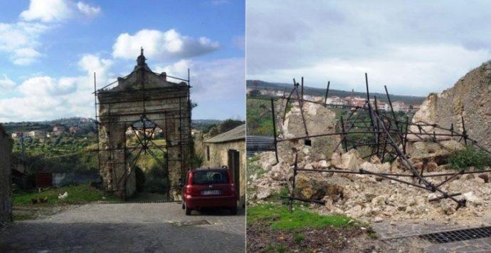 Crolla portale del '600, Pannaconi perde il suo simbolo