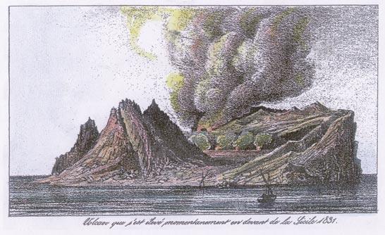 L'isola Ferdinandea in una stampa d'epoca