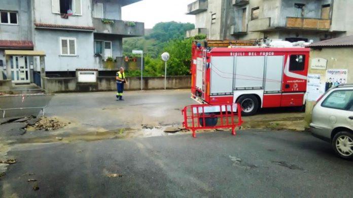 Vigili del fuoco in azione a Maierato