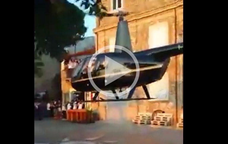 VIDEO   Matrimonio in elicottero a Nicotera, ecco il video dell'atterraggio in piazza