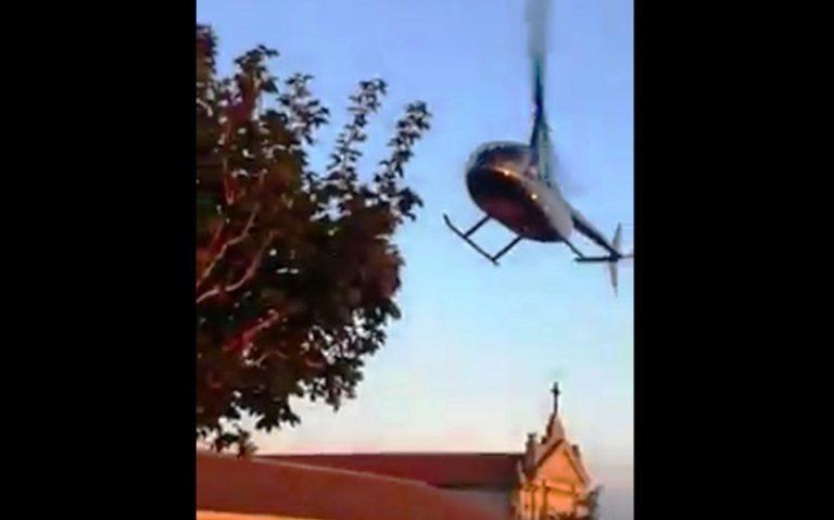 Elicottero nel centro storico di Nicotera senza autorizzazioni