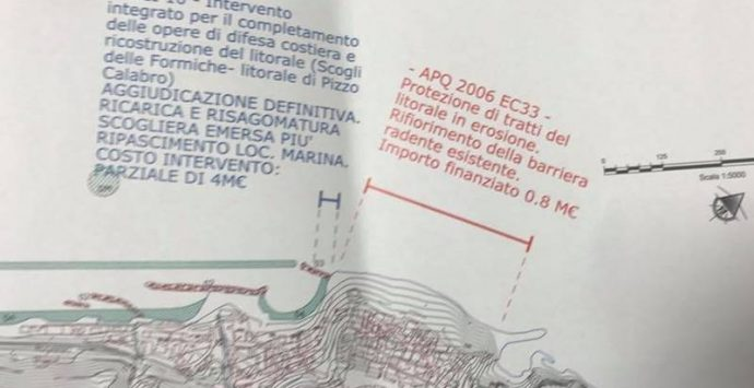 Contrasto dell'erosione costiera a Pizzo, accelerazione nell'iter dei lavori