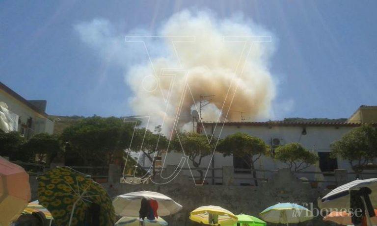 Pizzo, a fuoco l'area collinare vicino al supermercato Coop (Video)