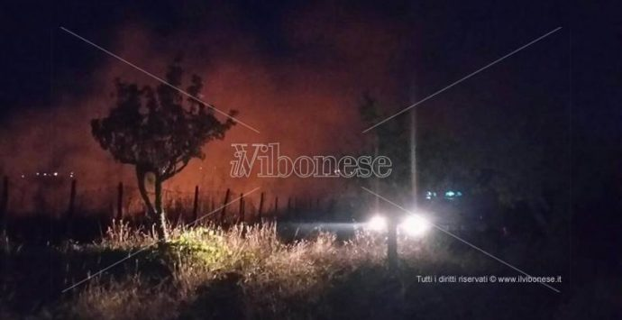 Vasto incendio fra Vibo e Vena Superiore, intervento dei vigili del fuoco