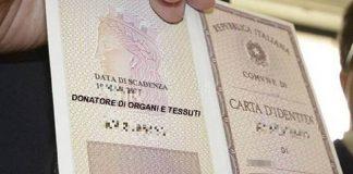 Nuova carta di identità con consenso alla donazione di organi e tessuti
