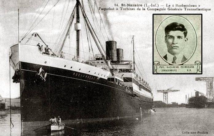 """La nave """"Rochambeau"""" e, nel riquadro, Primerano"""