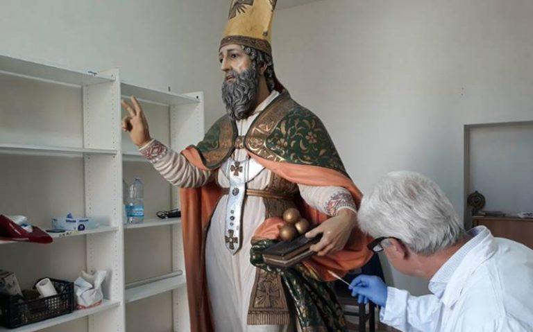 Pannaconi, avviato il restauro della statua di San Nicola