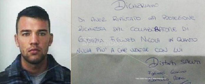 Nicola Figliuzzi e la lettera inviata dai familiari al Il Vibonese