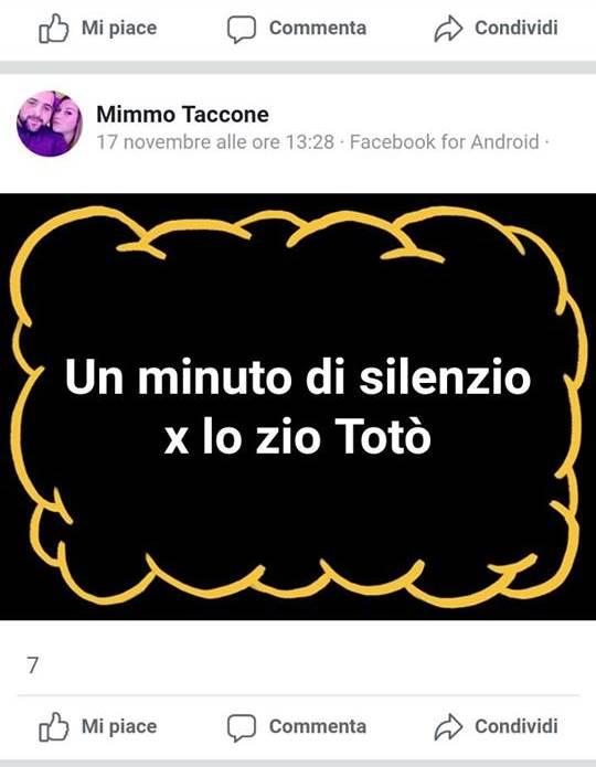 Il post pubblicato da Taccone su Facebook