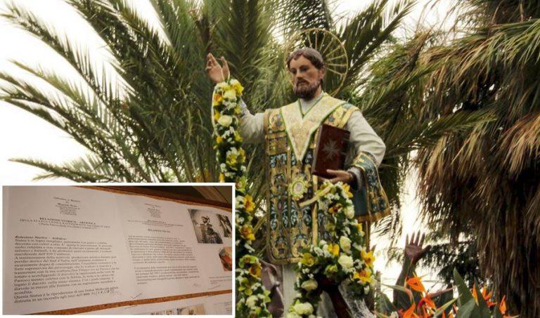 Favelloni, al via il restauro della statua del patrono San Filippo d'Agira