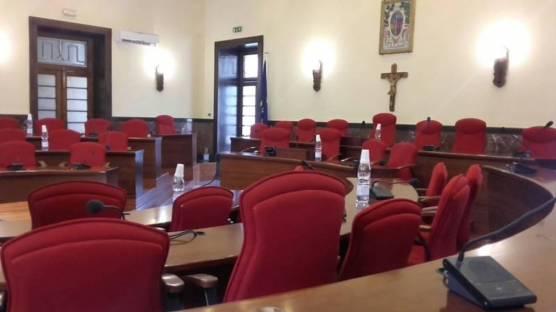"""L'aula consiliare di Palazzo """"Luigi Razza"""""""