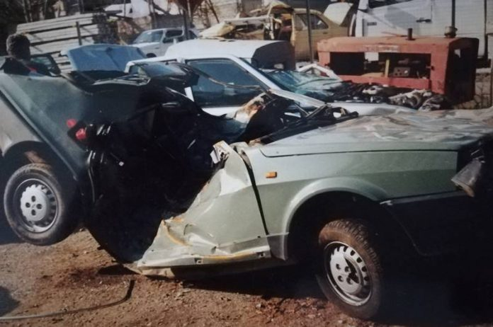 L'auto sulla quale viaggiava Gianluca Rubino