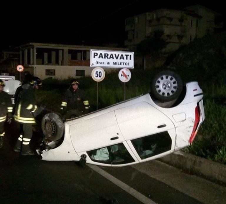 Incidente stradale a Paravati: auto si ribalta