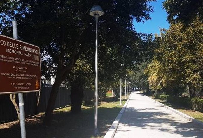 L'ingresso del Parco delle rimembranze a Vibo