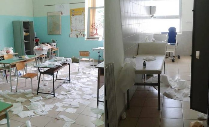 I danni nella scuola San Sebastiano