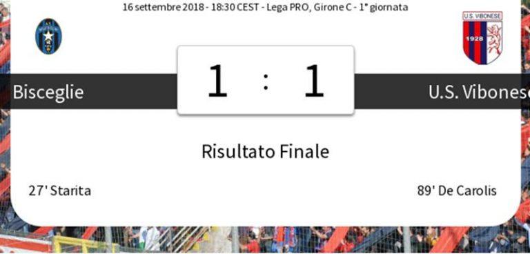 Serie C, Vibonese salvata da De Carolis: a Bisceglie agguanta il pareggio nel finale