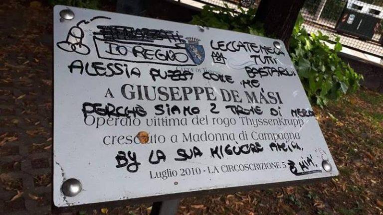 Morì per l'incendio alla Thyssen: imbrattata a Torino la targa in memoria di Giuseppe De Masi