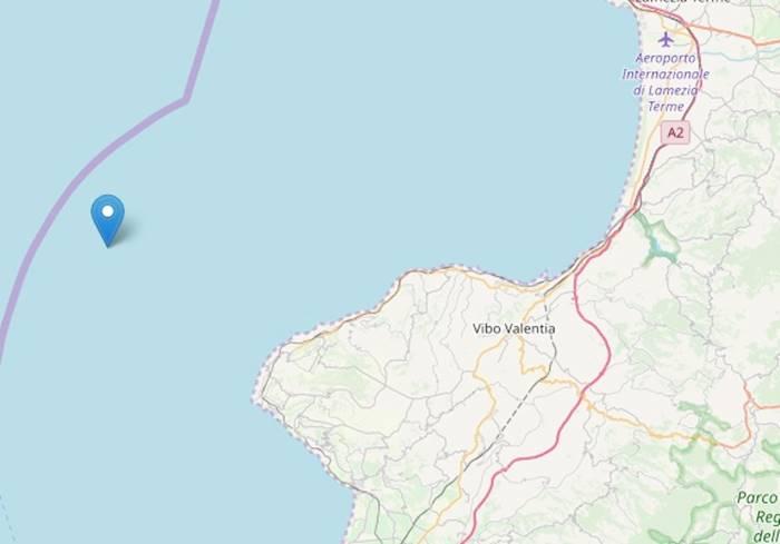 Terremoto di magnitudo 3.6 al largo della costa vibonese