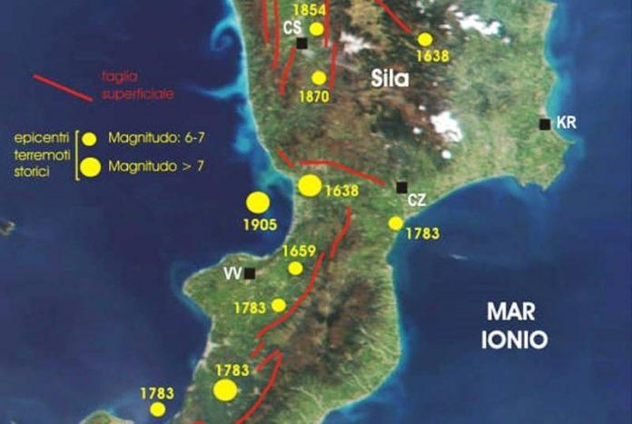 la mappa dei terremoti storici
