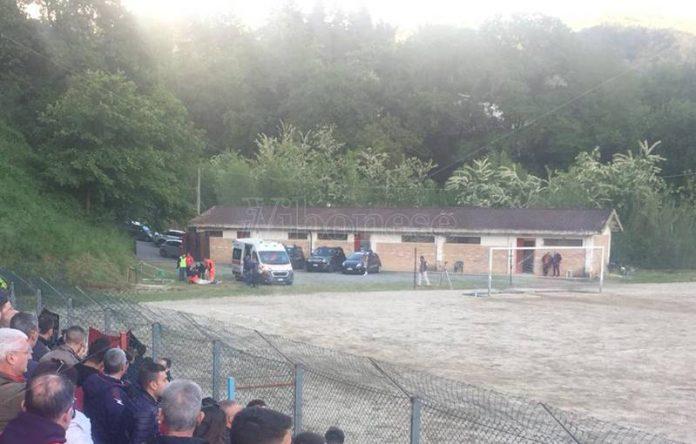 L'intervento del 118 al campo sportivo di Soriano