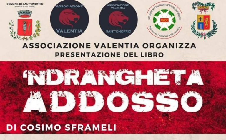 """""""'Ndrangheta addosso"""", Cosimo Sframeli presenta a Sant'Onofrio il suo libro"""