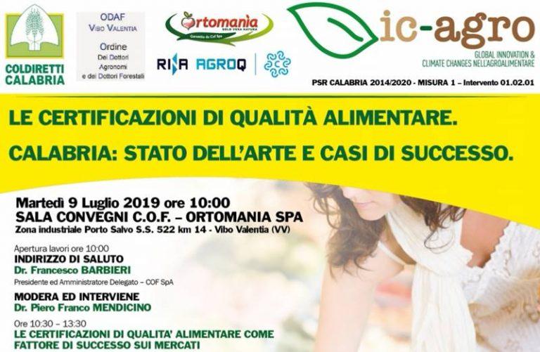 Certificazione di qualità nell'agroalimentare, a Porto Salvo il seminario di Coldiretti