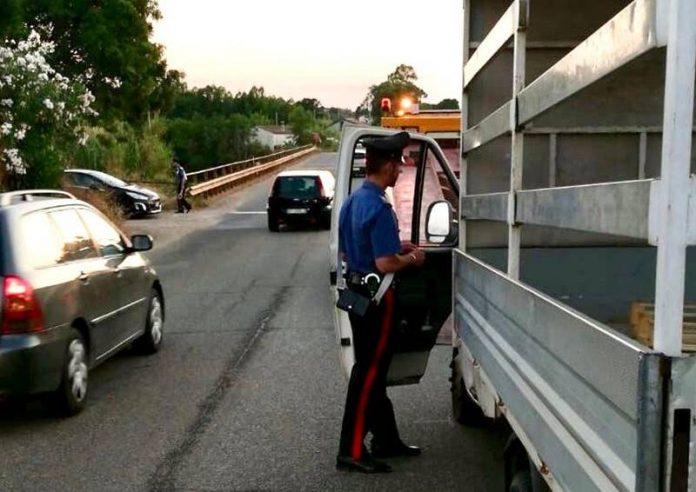 Carabinieri sul luogo del sinistro