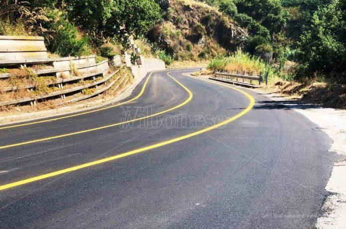 Una parte del tratto nuovamente asfaltato