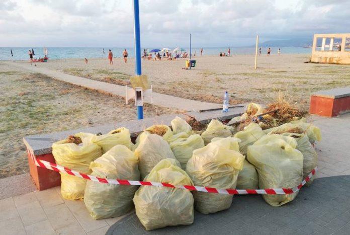 I rifiuti raccolti sulla spiaggia di Bivona