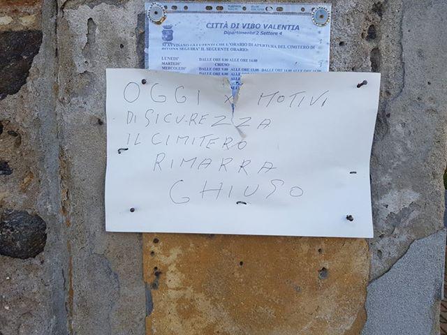 Il maltempo è passato ma il cimitero di Bivona resta chiuso