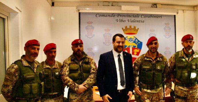 Salvini a Vibo: «Grazie ai Carabinieri che hanno ripulito questa terra» – Video