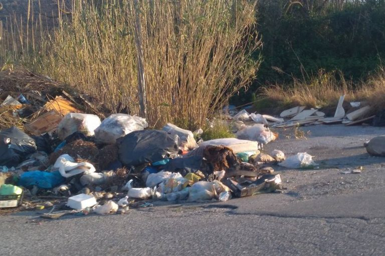 Rifiuti in strada a Vibo Marina, rischio incidenti nella zona del cementificio