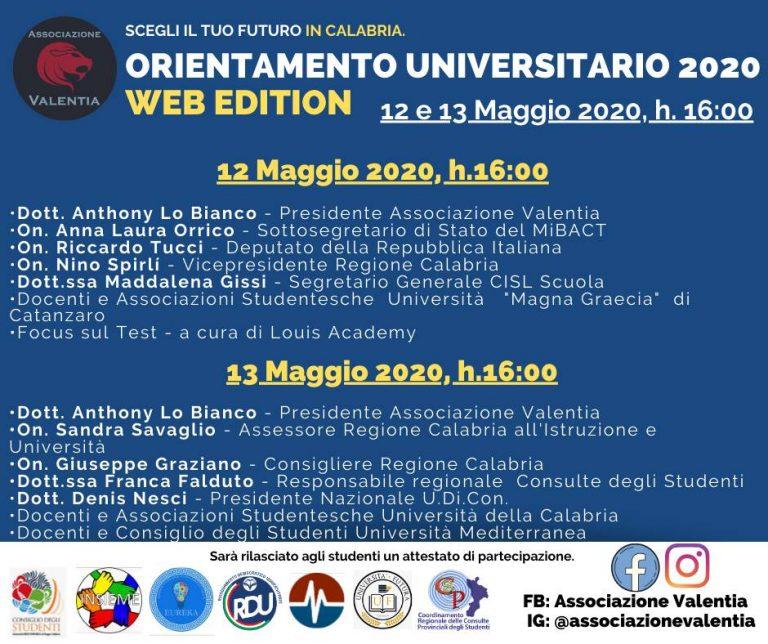 Università, l'associazione Valentia lancia il primo orientamento online