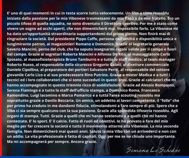 """Simone Lo Schiavo saluta la Vibonese: il suo """"grazie"""" a società e tifosi"""