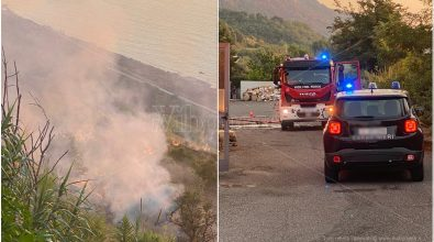 Incendio a Pizzo, a fuoco la collina vicino il supermercato Coop – Video