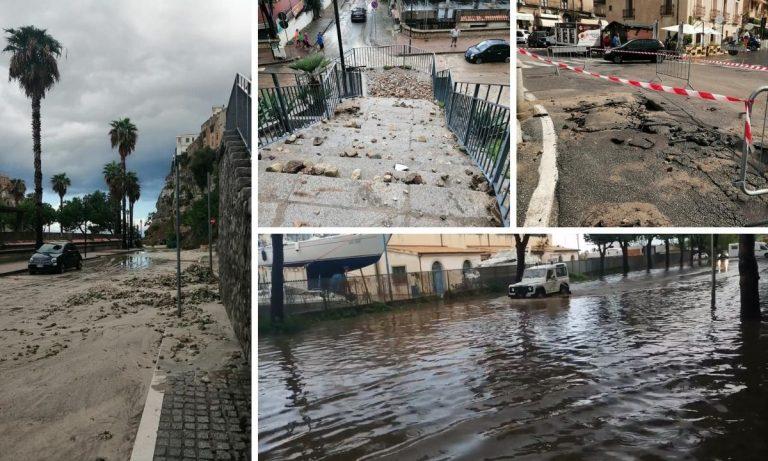 Bomba d'acqua a Tropea: tombini saltati e lungomare allagato -Video